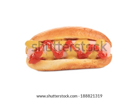 Tasty hot dog with mustard. Isolated on a white background. - stock photo