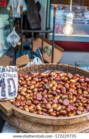 Tasty hot freshnuts on sale in the streets of Istanbul