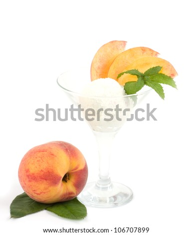 Tasty ice cream dessert with peach on white background