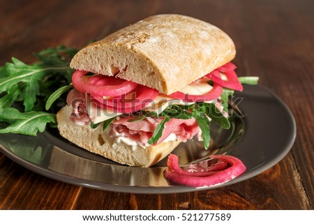 Tasty Italian Ciabata Sandwich with Pickled Onions and Wafer Thin Ham