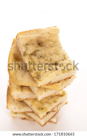 tasty italian focaccia on a white background