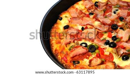tasty italian pizza freshly baked - stock photo