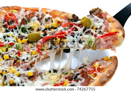 Tasty Italian pizza high resolution image - stock photo