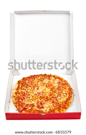 Tasty Italian pizza in the carton box, isolated on white background - stock photo