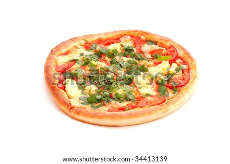 Tasty Italian pizza on white