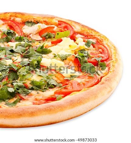 Tasty Italian pizza over white - stock photo