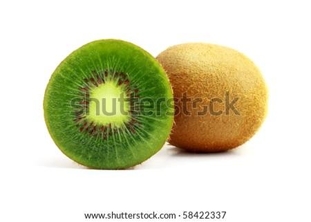 Tasty kiwi isolated on white - stock photo