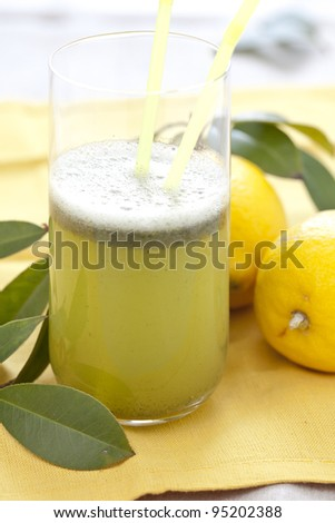 tasty lime and lemon juice with parsley and small bubbles