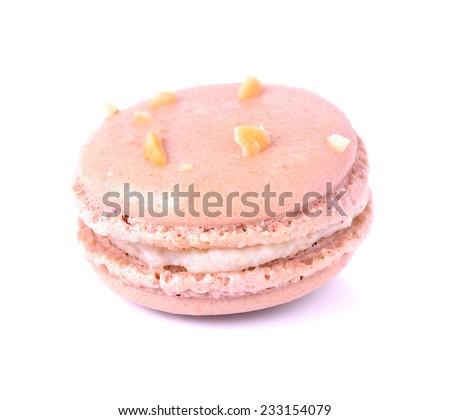 Tasty macaron isolate on with background - stock photo
