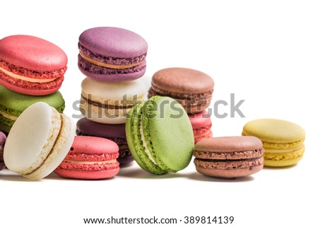 Tasty macaroons on white background - stock photo