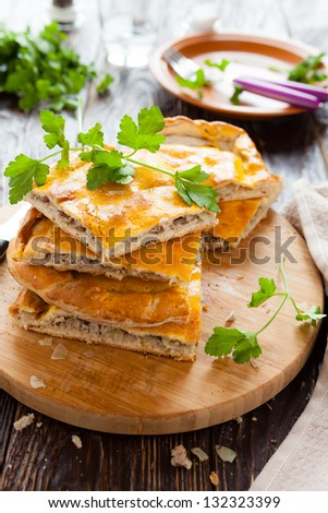 tasty meat pie pieces and parsley, closeup - stock photo