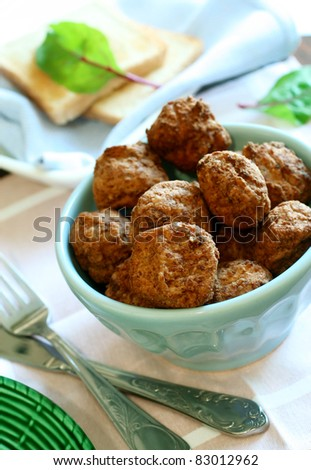 tasty meatballs in bowl - stock photo