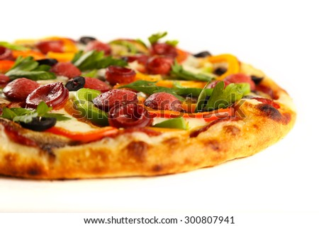 Tasty mixed pizza isolated on white - stock photo