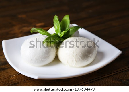 Tasty mozzarella cheese with basil on plate  on wooden background - stock photo