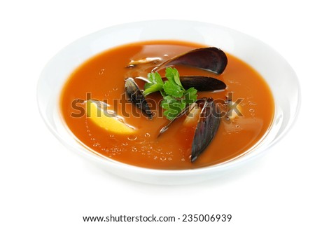 Tasty mussel soup isolated on white - stock photo