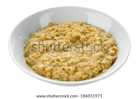 Tasty oatmeal isolated on white - stock photo