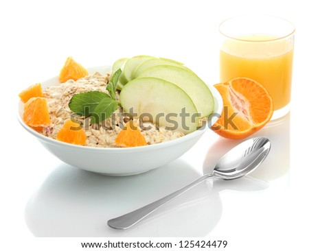 tasty oatmeal with orange and apple, isolated on white - stock photo