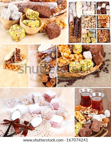 Tasty oriental sweets collage - stock photo