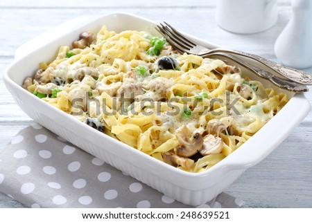 tasty pasta in baking dish, food italian  - stock photo