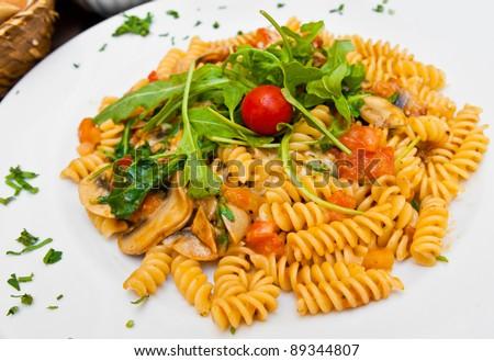 tasty pasta-Italian meat sauce noodles on the table - stock photo