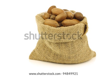 tasty pecan nuts in a burlap bag on a white background