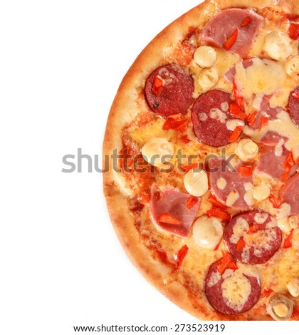 Tasty pepperoni is a popular pizza topping in American-style pizzerias isolated over white background - stock photo