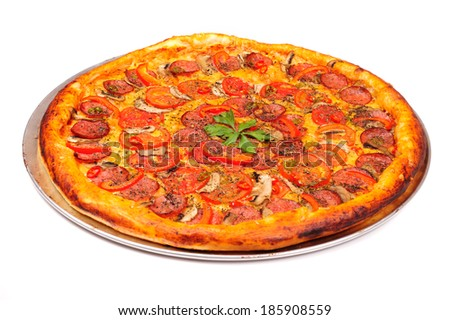 Tasty pepperoni pizza isolated on a white background  - stock photo