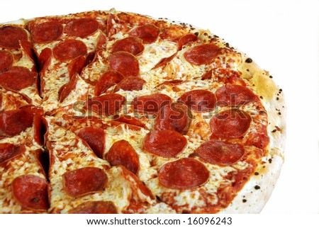 Tasty pepperoni pizza on a white background - stock photo