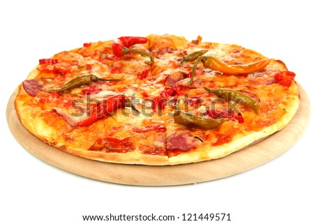 Tasty pepperoni pizza on wooden board isolated on white - stock photo