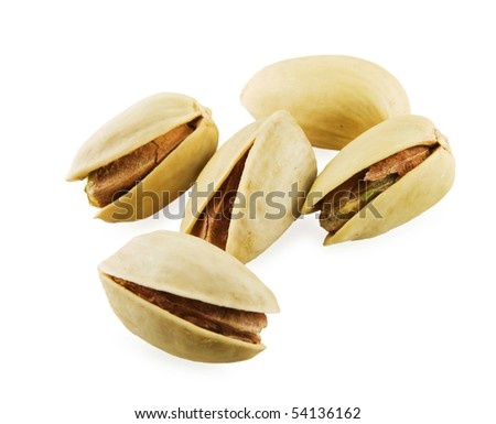 Tasty pistachios on a white background. Close-up - stock photo