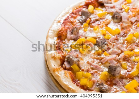 tasty pizza and text space on a white wooden background, mocup