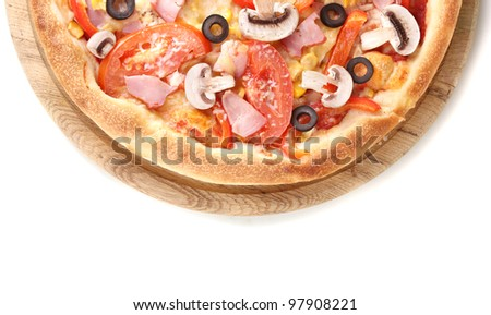 Tasty pizza close-up isolated on white - stock photo