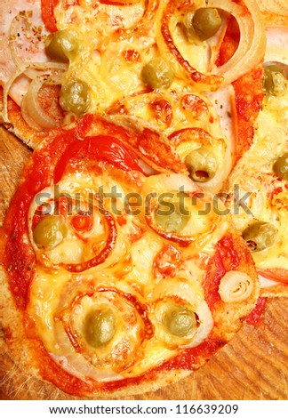 Tasty pizza close up. Traditional healthy food from Italy. - stock photo