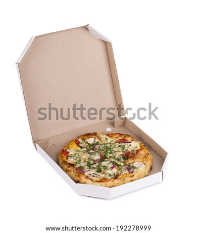Tasty pizza in box. Isolated on a white background.