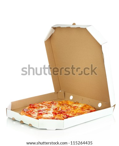 Tasty pizza in box isolated on white - stock photo