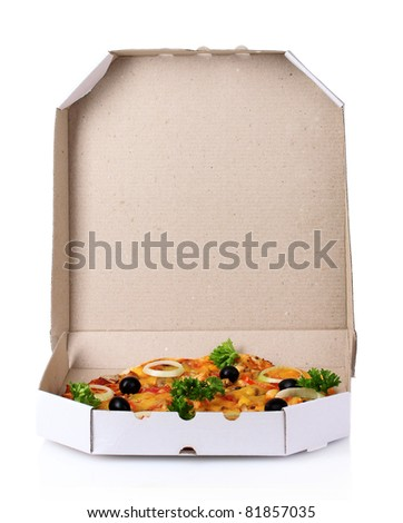 tasty pizza in package isolated on white - stock photo