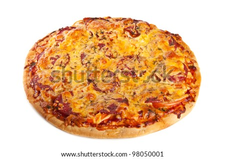 tasty pizza isolated on a white background - stock photo