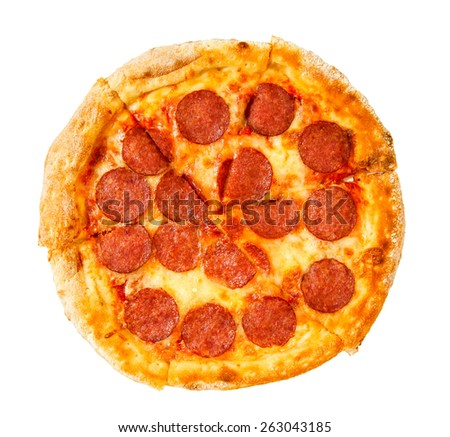 Tasty pizza on a white background. pizza pepperoni. - stock photo