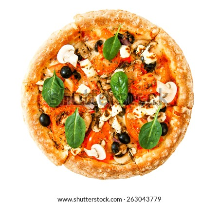Tasty pizza on a white background. Veggie a pizza with tomatoes, olives, mushrooms and cheese. - stock photo