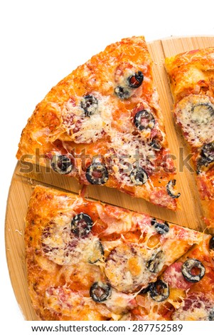 Tasty pizza on a wooden board, isolated on white background - stock photo