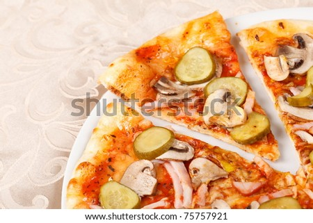 tasty pizza on the plate - stock photo