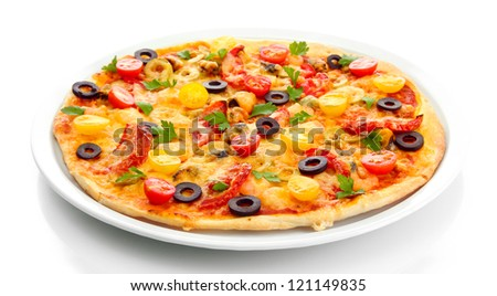 tasty pizza on the plate isolated on white - stock photo