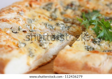 tasty pizza with blue cheeze - stock photo