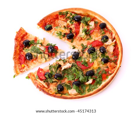 tasty Pizza with olives and sliced peace isolated on white