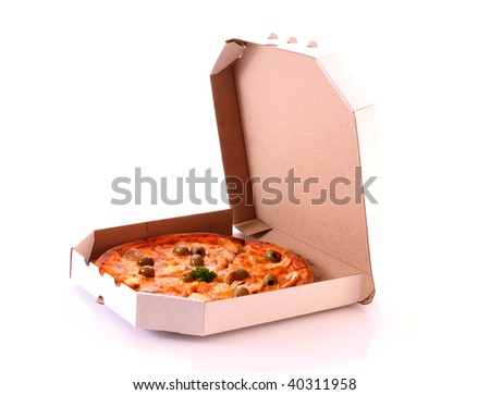 Tasty pizza with olives in box