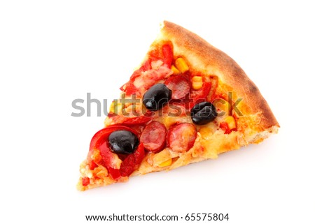 tasty Pizza with olives isolated on white - stock photo