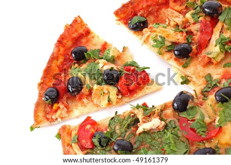 tasty pizza with olives on white
