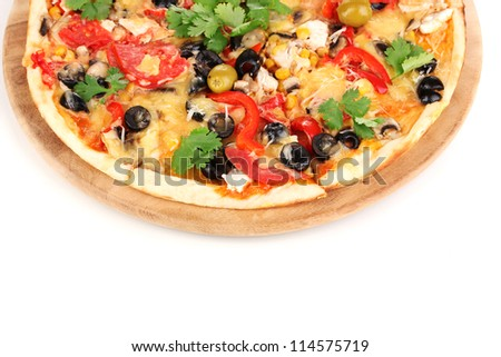 Tasty pizza with vegetables, chicken and olives close-up isolated on white