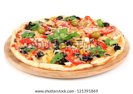 Tasty pizza with vegetables, chicken and olives isolated on white - stock photo