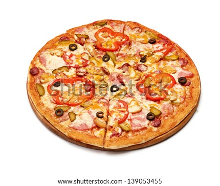 Tasty pizza with vegetables, isolated on white